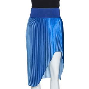 Stella McCartney Blue Plisse Satin Manny Asymmetrical Skirt S