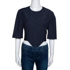 Stella McCartney Navy Blue Linen Blend Corset Top M