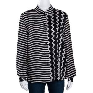 Stella McCartney Monochrome Silk Multiprint Long Sleeve Shirt M