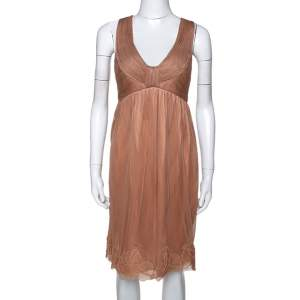 Stella McCartney Copper Silk Tulle Gathered Halter Neck Dress S