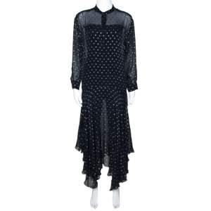 Stella McCartney Navy Blue Lurex Patterned Chiffon Sheer Dress M