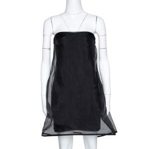 Stella McCartney Black Silk Organza Overlay Strapless Dress M
