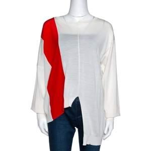 Stella McCartney Bicolor Wool Jersey Asymmetric Jumper M