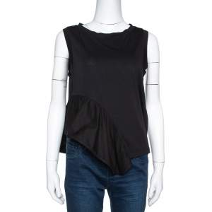 Stella McCartney Black Cotton Ruffled Asymmetrical Top S