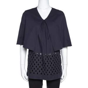 Stella McCartney Navy Blue Cutout Cotton Cape Sleeve Top S