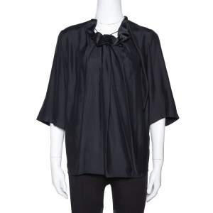 Stella McCartney Black Sateen Gathered Neck Faye Top XS