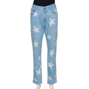 Stella McCartney Blue & Cream Star Print Denim Boyfriend Jeans M
