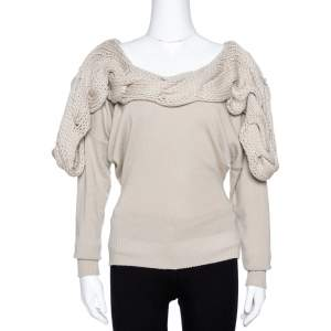 Stella McCartney Beige Cashmere & Silk Chunky Knit Trim Sweater M