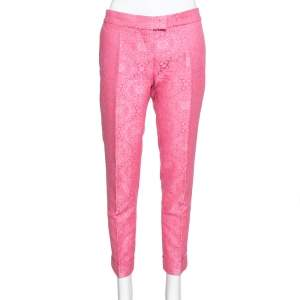 Stella McCartney Neon Pink Cotton Jacquard Tapered Pants S