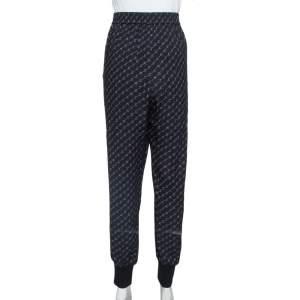 Stella McCartney Black Logo Print Silk Blend Jogger Pants L