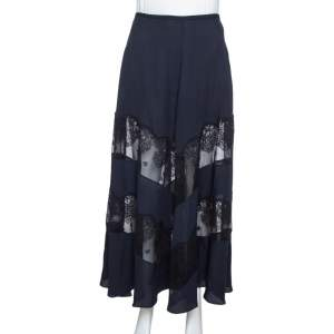 Stella McCartney Midnight Blue Silk & Lace Paneled Maxi Skirt S