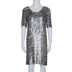 Stella McCartney Metallic Sequin Embellished Short Sleeve Shift Dress M