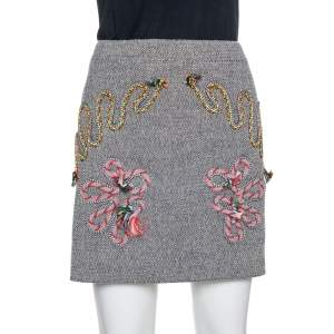 Stella McCartney Grey Tweed Embroidered Mini Skirt M