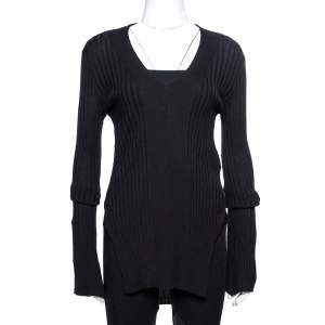 Stella McCartney Black Ribbed Knit Fitted Sweater M