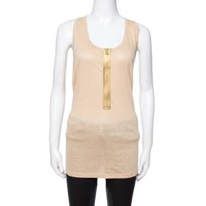 Stella McCartney Beige Linen & Cotton Zip Front Tank Top L