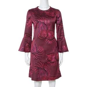 Stella McCartney Burgundy Floral Jacquard Wool Long Sleeve Dress M