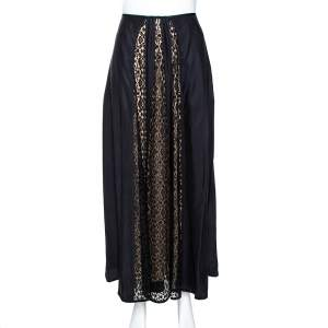 Stella McCartney Black Silk Lace Paneled Maxi Skirt S