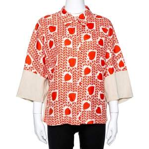 Stella McCartney Orange Hearts Print Silk & Linen Paneled Blouse L