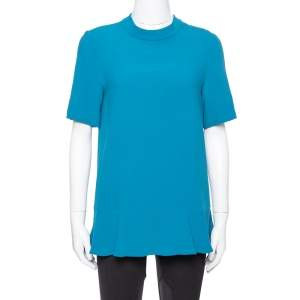 Stella McCartney Teal Crepe Peplum Top S