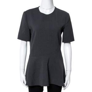 Stella McCartney Grey Stretch Wool Mirella Peplum Top S