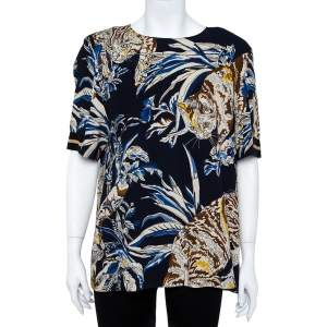 Stella McCartney Navy Stretch Crepe Cat Print Blouse L