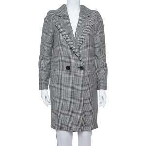 Stella McCartney Monochrome Wool Hounds Tooth Pattern Coat M