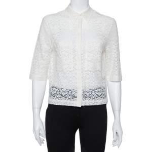 Stella McCartney Cream Lace Button Front Sheer Crop Top M