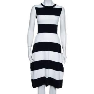 Stella McCartney Navy Blue & White Striped Knit Structured Midi Dress M