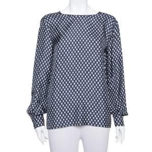 Stella McCartney Navy Blue Check Patterned Silk Oversized Top S