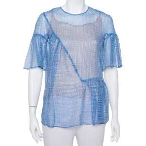 Stella McCartney Blue Santi Star Print Lurex Ruffle Silk Top S