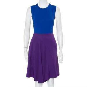 Stella McCartney Blue & Violet Crepe Paneled Sleeveless Dress S