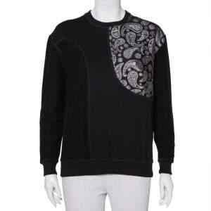 Stella McCartney Black Cotton Knit Paisley Jacquard Patch Detail Sweatshirt S