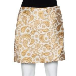 Stella McCartney Gold & White Paisley Jacquard Faux Wrap Detail Mini Skirt S