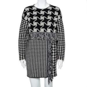 Stella McCartney Monochrome Houndstooth Pattern Wool Oversized Shift Dress S
