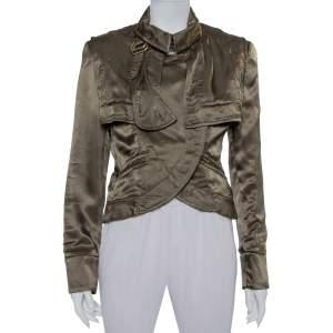 Stella McCartney Green Satin Overlay Detail Button Front Jacket M
