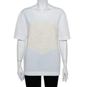 Stella McCartney White Cotton Rose Crochet Applique Top M
