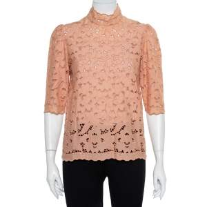 Stella McCartney Pink Eyelet Lace Back Button Detail Top S