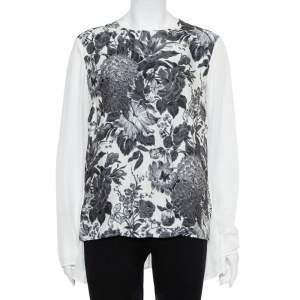 Stella McCartney Monochrome Floral Printed Silk Asymmetric Hem Detail Top M