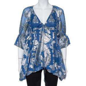 Stella McCartney Blue Floral Lame Asymmetrical Hem Top M
