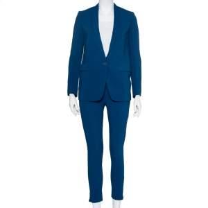 Stella McCartney Blue Crepe Button Front Blazer & Zipper Detail Elastic Waist Trousers S