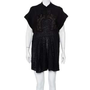 Stella McCartney Black Crepe & Lace Oversized Mini Dress M