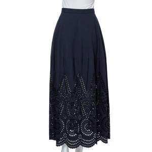 Stella McCartney Navy Blue Embroidered Cotton Penelope Midi Skirt S