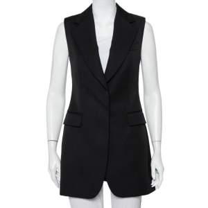 Stella McCartney Black Wool Sleeveless Long Blazer Jacket S