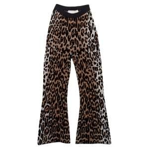 Stella McCartney Brown Leopard Print Jacquard Bootcut Cropped Pants XS