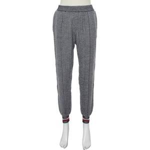 Stella McCartney Monochrome Zig Zag Patterned Wool & Silk Joggers XS