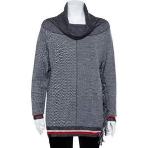 Stella McCartney Monochrome Zig-Zag Patterned Wool & Silk Cowl Neck Sweater XS
