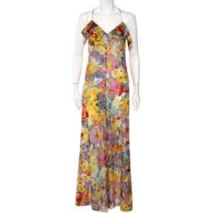 Stella McCartney Multicolor Floral Printed Cotton Ruffled Wide Leg Jumpsuit M