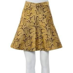 تنورة ستيلا مكارتني جاكار نقشة جلد الثعبان أصفر مُستردة مقاس صغير (سمول)