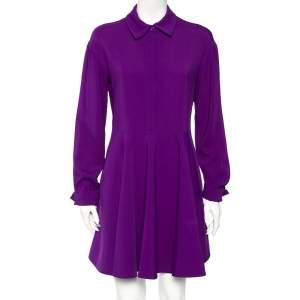 Stella McCartney Violet Crepe Long Sleeve Flared Dress S