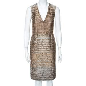 Stella McCartney Beige Crocodile Effect Jacquard Sleeveless Giona Dress S